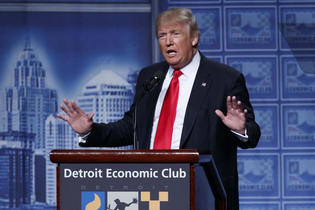 Donald Trump delivers an economic policy speech to the Detroit Economic Club on Monday in Detroit.