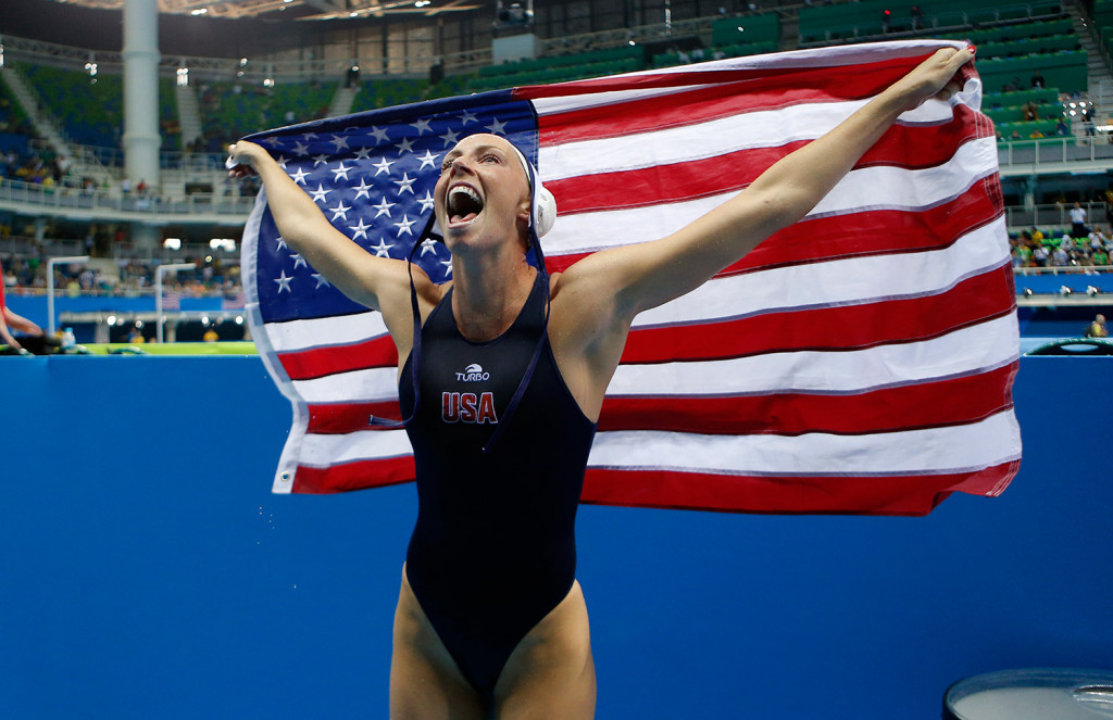 United States' KK Clark of the women's water polo team celebrates after winning the gold medal match against Italy at the 2016 Summer Olympics in Rio de Janeiro, Brazil, on Friday.
