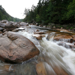 The Wassataquoik Stream flows through Township 3, Range 8, in Maine, on land donated to the U.S. government by environmentalist Roxanne Quimby, the founder of Burts Bees. President Barack Obama declared a new national monument in Maine on 87,000 acres donated by Quimby.