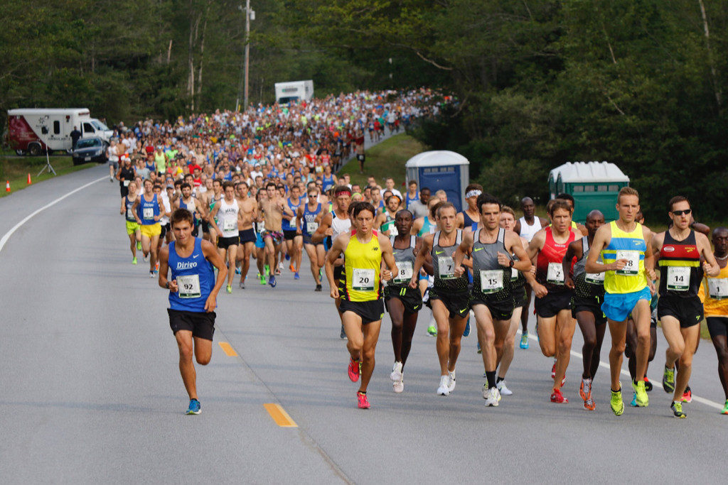 Runners leave the starting line at the beginning of the TD Beach to Beacon 10K road race in Cape Elizabeth on Saturday, Aug. 6, 2016.