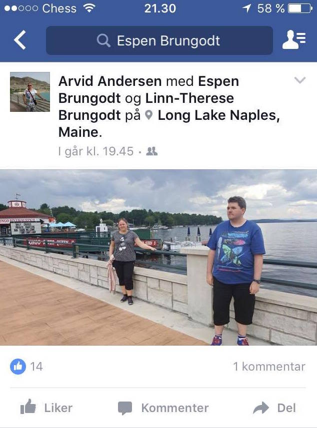 Photos posted to Espen Brungodt's Facebook page and forwarded to the Portland Press Herald by a friend show him vacationing in Maine before his arrest Wednesday in Portland.