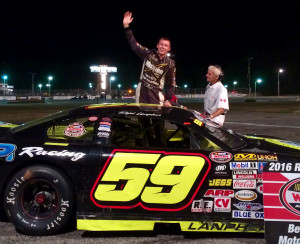 Reid Lanpher of Manchester celebrates a win at Beech Ridge Motor Speedway in Scarborough earlier this season. Lanpher finished second in the Oxford 250 last year in his first start in the race.