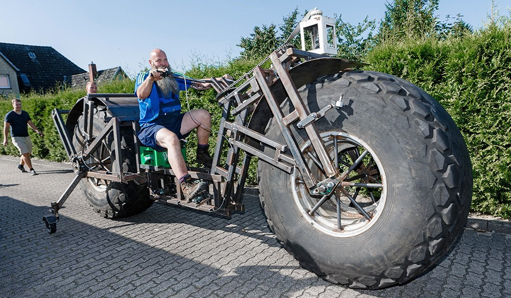 Frank Dose test drives his self-made bicycle in Rade, Germany. Markus Scholz/dpa via AP