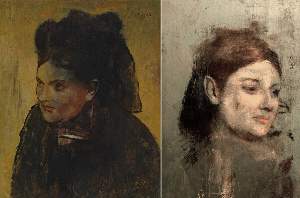 "Edgar Degas' ""Portrait of a Woman,"" left, and the image of a woman believed to be a 19th-century French model that was revealed underneath by a high-definition X-ray beam. Australian Synchrotron via AP"
