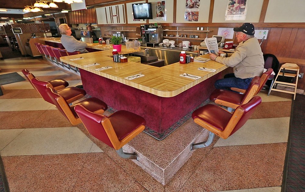 Customers sit at the counter at the Howard Johnson Restaurant in Bangor in this April 2015 photo.