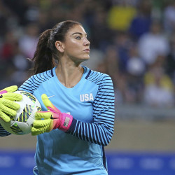 "U.S. goalkeeper Hope Solo takes the ball during a match against New Zealand in Belo Horizonte, Brazil., on Aug. 3. U.S. Soccer says her comments about Sweden's team were ""unacceptable and do not meet the standard of conduct we require from our National Team players."" Eugenio Savio/Associated Press"