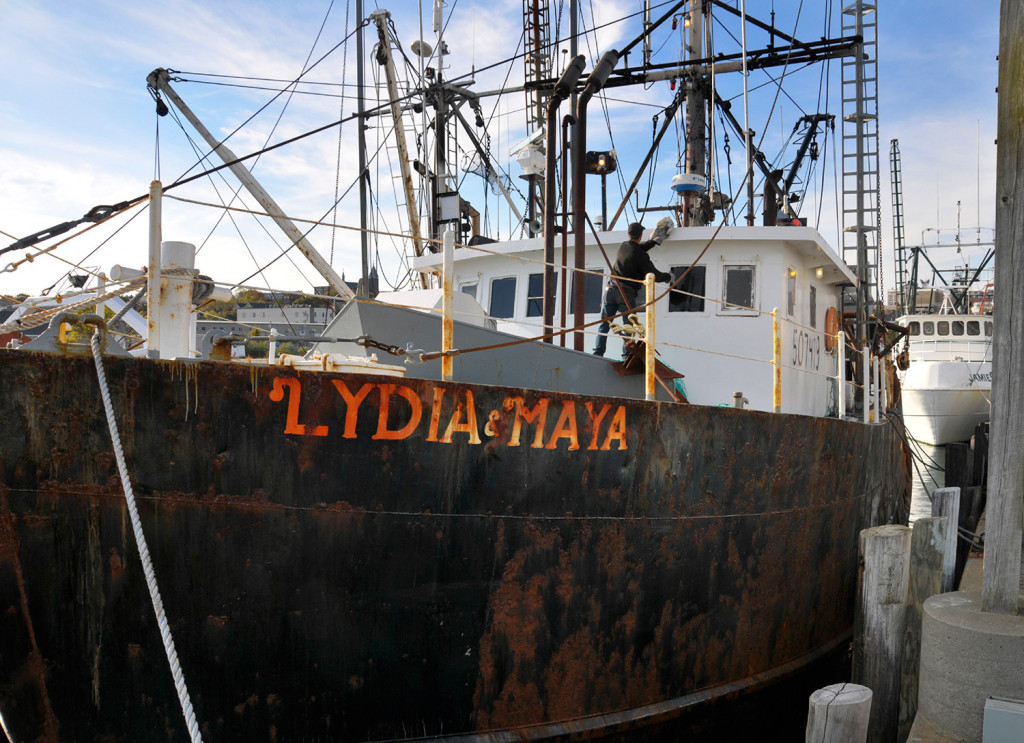 The Coast Guard rescued four fishermen Wednesday morning after the Lydia & Maya started taking on water about 40 miles south of Southwest Harbor.