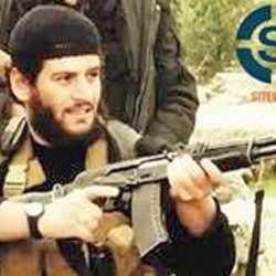 """The Islamic State group says it spokesman, Abu Muhammed al-Adnani, was """"martyred"""" in northern Syria. SITE Intel Group via AP"""