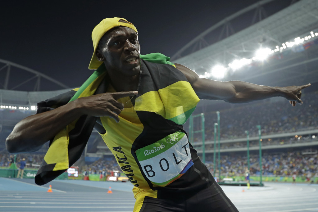 Jamaica's Usain Bolt celebrates after winning the gold in the 100-meter final Sunday in Rio de Janeiro, Brazil. Associated Press/Matt Slocum
