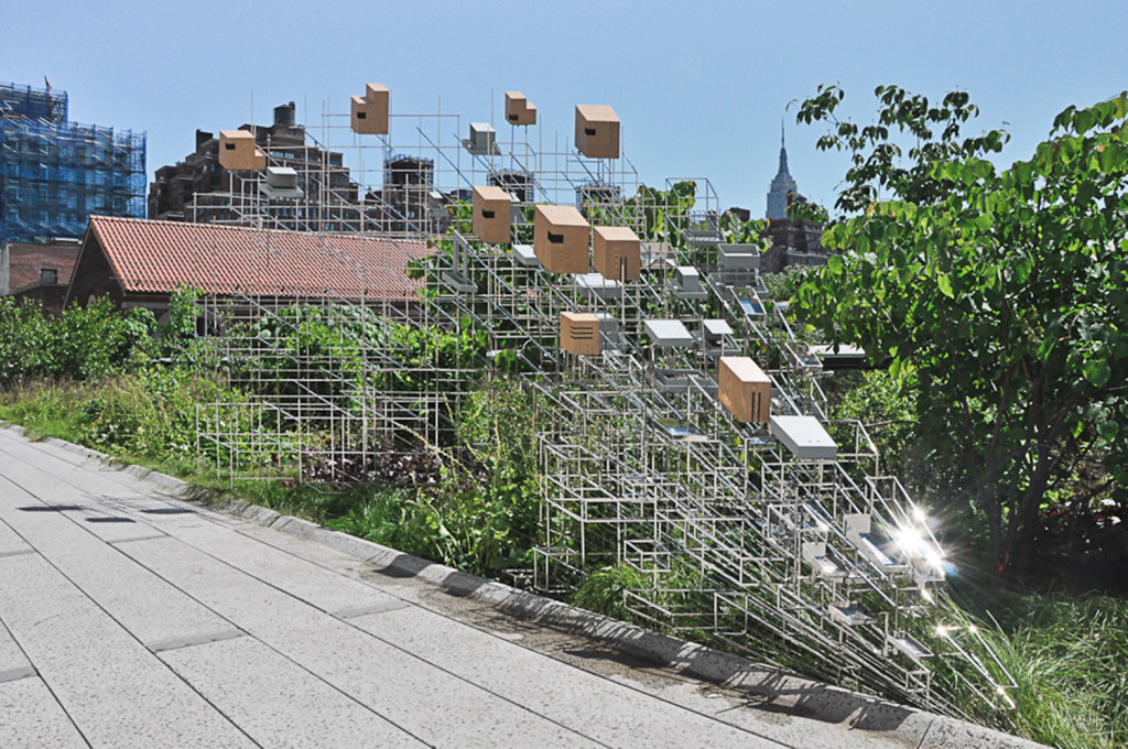 """Sarah Sze's """"Still Life with Landscape"""" is installed on the High Line in New York City."""
