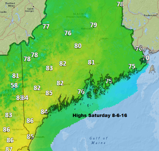 Highs predicted for Saturday 8-6-16