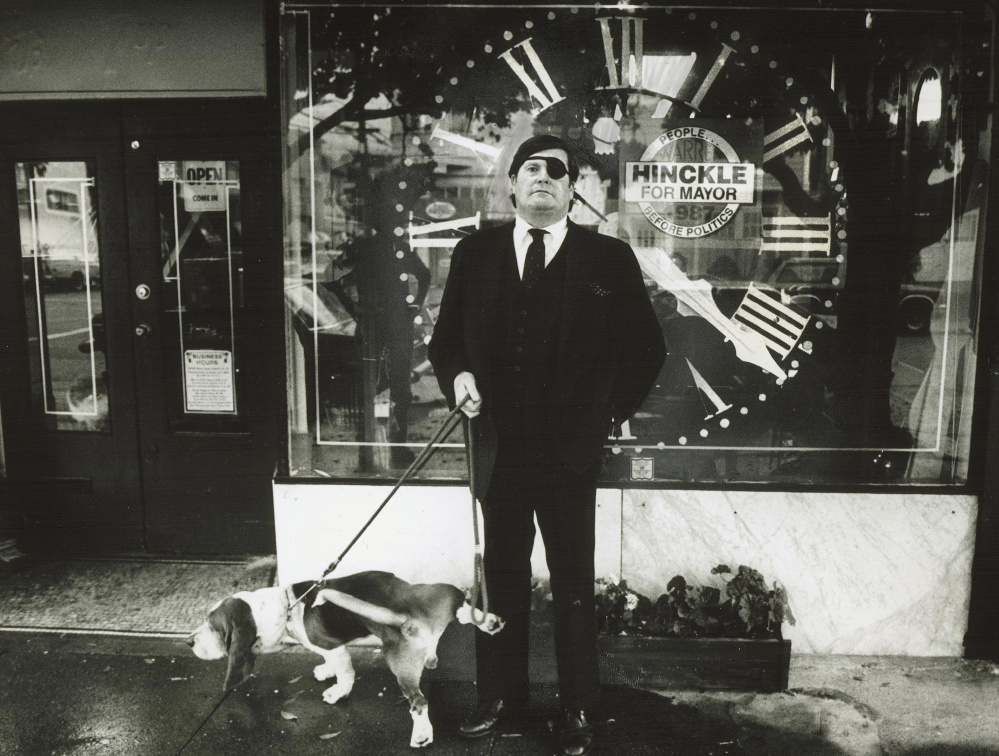 Pugnacious in print and in person, Warren Hinckle, shown with his dog Bentley, even looked piratical with a patch that covered up a left eye lost in a boyhood accident. A muchraking journalist, he drew the wrath of anyone who got in his way.