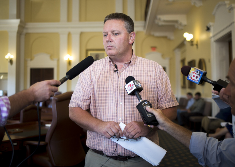 Senate President Michael Thibodeau holds a news conference about Gov. Paul LePage at the State House on Friday.