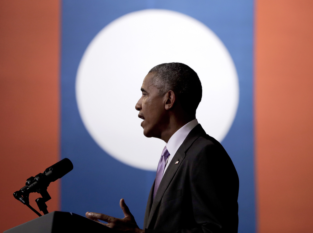 U.S. President Barack Obama speaks at the Lao National Cultural Hall in Vientiane, Laos, Tuesday.