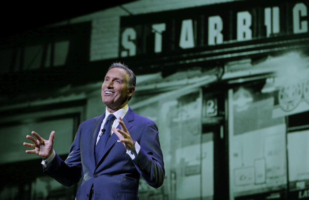 "Asked Wednesday whether he might consider running for president, Starbucks CEO Howard Schultz laughed, then said, ""I'm still a young man. Let's see what the future holds."""