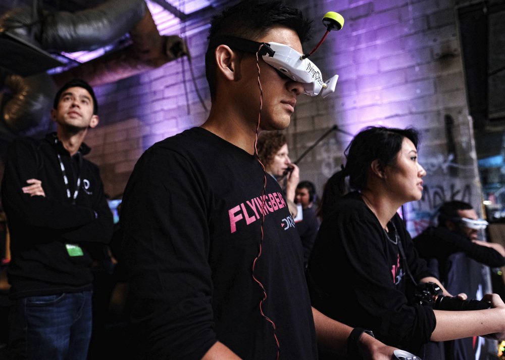 """Ken """"Flying Bear"""" Loo watches a Drone Racing League event in Hawthorne, Calif., last March."""