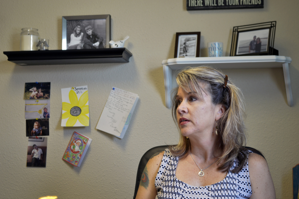 Jennifer Weiss-Burke, executive director of a youth recovery center in Albuquerque, N.M., speaks about her son Cameron, whose descent into drug addiction started with a painkiller prescription from his doctor after an athletic  injury, and ended with a fatal heroin overdose nearly three years later.