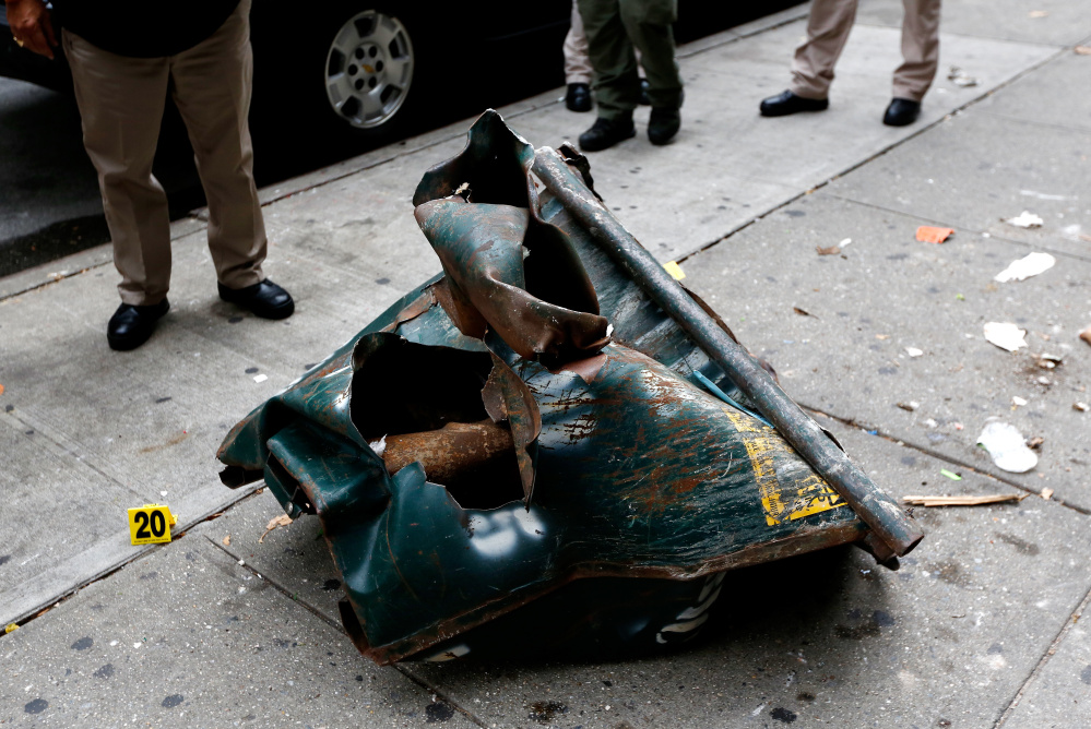 A mangled toolbox sits at the scene of an explosion Saturday night in the Chelsea neighborhood of New York.