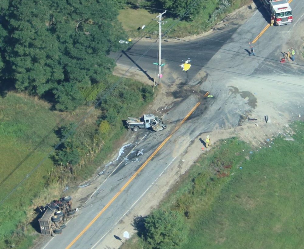 An aerial view of the crash scene Wednesday at the intersection of Route 9 and Runaround Pond Road in Durham.