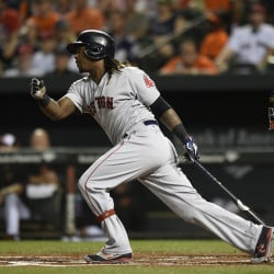 Boston's Hanley Ramirez follows through on a RBI single against the Baltimore Orioles in the first inning Thursday night in Baltimore.