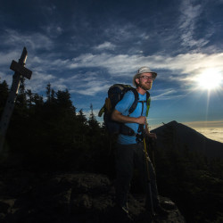 Cornelius Rumblejunk, a thru-hiker from Austin, Texas, enjoys what so many other Appalachian Trail hikers have enjoyed – the view to remember from South Horns Peak.