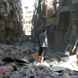 Much of Aleppo is in rubble Saturday as Syrian government forces capture more rebel-held areas while the humanitarian crisis worsens.