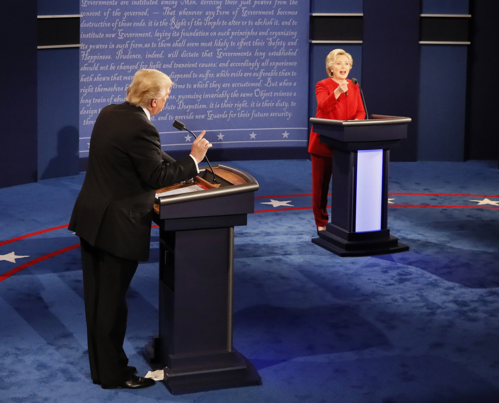 Donald Trump and Hillary Clinton speak at the same time during their first debate of the presidential campaign.