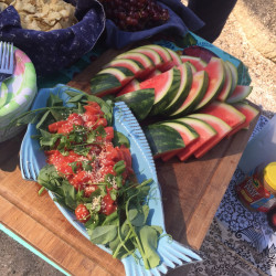 A vegan watermelon poke salad with fresh pea shoots is among the plant-based dishes chef Anna Miller serves to guests on the schooner Ladona.