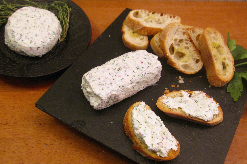 Fresh herbed yogurt cheese is simple to make, but you need to plan ahead because the yogurt takes 48 hours to drain.