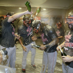 The Red Sox lost in stunning fashion to the Yankees Wednesday night, but they still had time to celebrate. They clinched the AL East title earlier in the evening when Baltimore beat Toronto.
