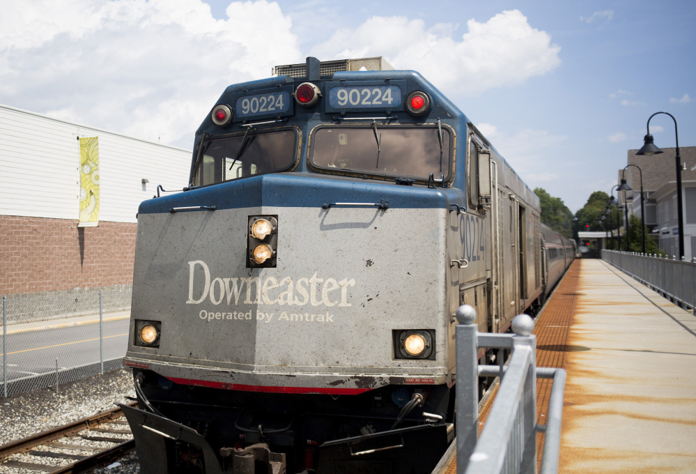 The Amtrak Downeaster arrives in Brunswick last month. Passengers will be compensated with reduced fares during the construction period in October and November.