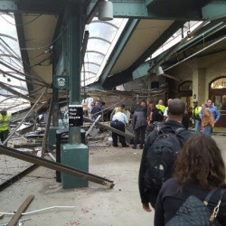 A commuter train barreled into the New Jersey rail station in Hoboken during the Thursday morning rush hour, causing serious damage. The train came to a halt in a covered area between the station's indoor waiting area and the platform. A metal structure covering the area collapsed.