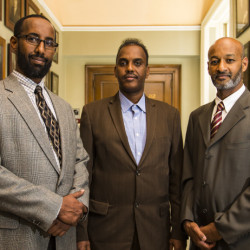 Leaders in the immigrant community gather at Portland City Hall after announcing the formation of the New Mainers Alliance. From left are Mahmoud Hassan, president of the Somali Community Center of Maine, Abdifatah Ahmed, chairman of the New Mainers Alliance, and Elmuatz Abdelrahim, a co-founder of the group.