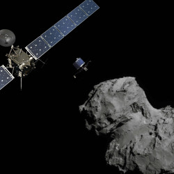 Above, an artist's rendering shows the Rosetta orbiter as it tracks the 2.5-mile-wide comet known as 67P, revealing a dramatic world of towering cliffs, deep pits and massive boulders.