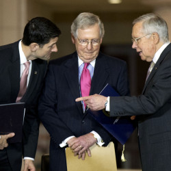Finger-pointing has postponed action on many weighty issues until 2017. From left, House Speaker Paul Ryan, Senate Majority Leader Mitch McConnell and Senate Minority Leader Harry Reid, confer.