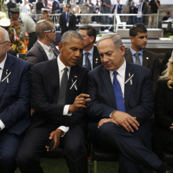 Left to right, Israeli President Reuven Rivlin, President Barack Obama, Israeli Prime Minister Benjamin Netanyahu and his wife, Sara, attend the funeral of former Israeli President Shimon Peres in Jerusalem on Friday.