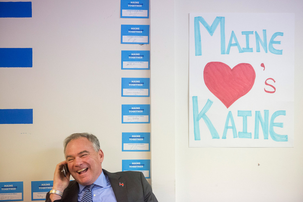 Democratic vice presidential candidate Tim Kaine calls a volunteer Thursday from the Clinton/Kaine campaign office in Portland to thank them for their work.