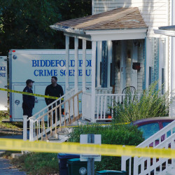 State and Biddeford police are investigating the shooting death of a man early Monday morning at 68-70 West Cutts Street. (Photo by Gregory Rec/Staff Photographer)