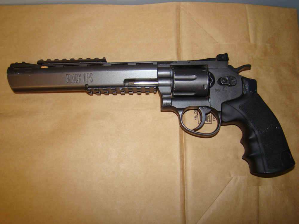 An Airsoft handgun powered by compressed that propels a pellet was recovered by Waterville police at a Union Street apartment building and allegedly used by Zachary Larrabee during a confrontation and assault over drugs on Thursday.