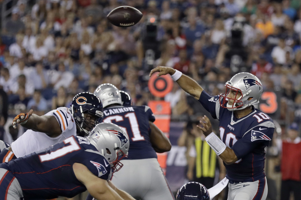 New England Patriots quarterback Jimmy Garoppolo (10) passes against the Chicago Bears during the first half of a preseason game last month in Foxborough, Massachusetts. Garoppolo will start in place of suspended starting quarterback Tom Brady.