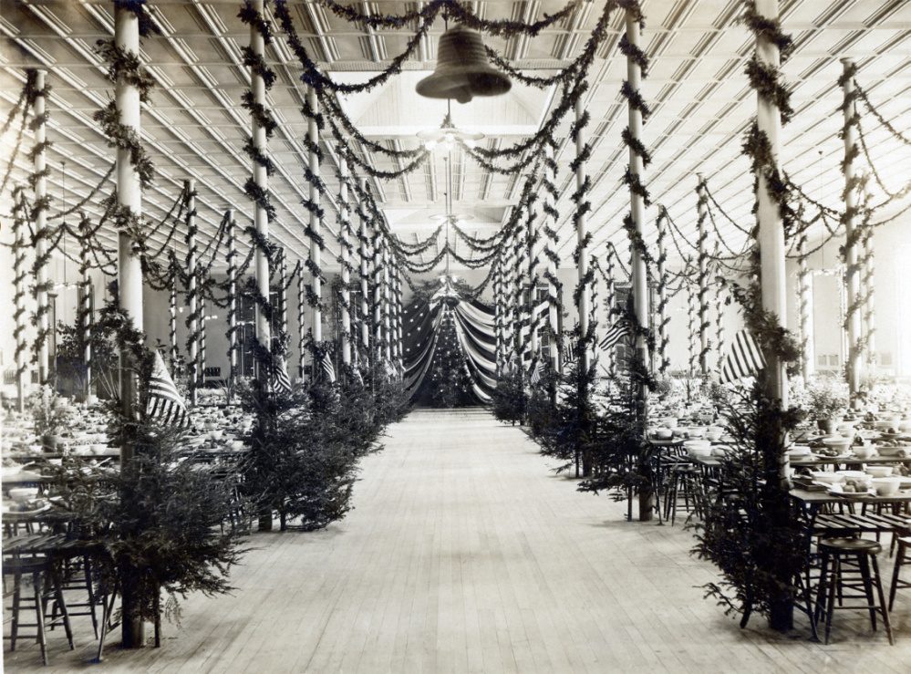 The mess hall decorated for Christmas in 1905.
