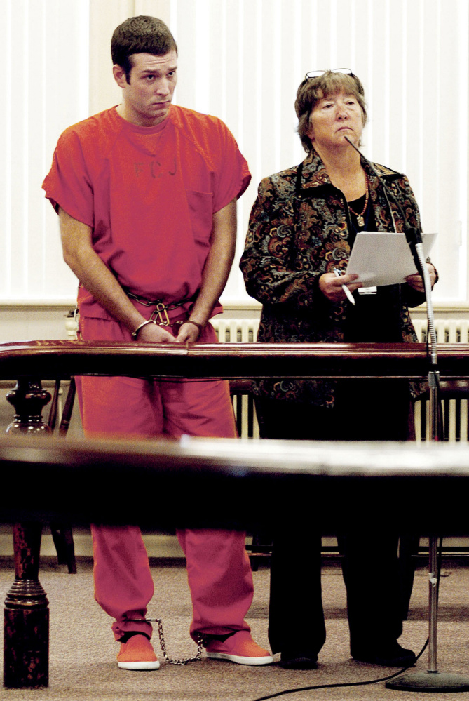 Timothy Danforth, charged with murder in connection with a fatal shooting in Wilton, listens to proceedings during a bail hearing Wednesday in Franklin County Superior Court in Farmington. At right is defense attorney Sarah Glynn.