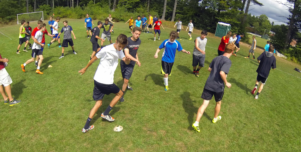 The Hall-Dale boys soccer team does drills during practice earlier in the preseason in Farmingdale. The Bulldogs lost several key players to graduation, but they should be in the thick of the Mountain Valley Conference title race this fall.