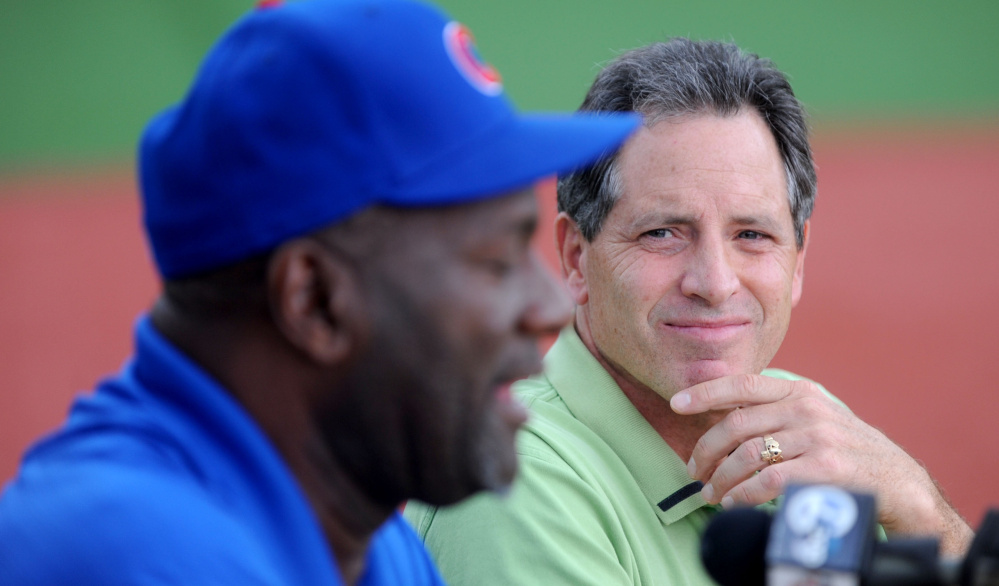Ken Walsh, right, listens as former MLB relief pitcher Lee Smith talks about baseball at during a Fran Purnell Wrigley Field ceremony Wednesday in Waterville.