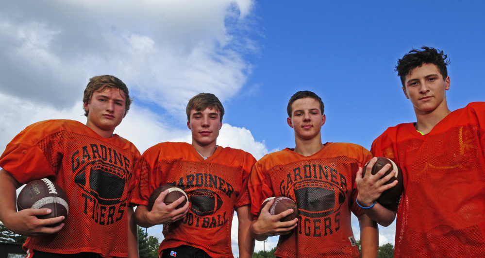 Gardiner's all sophomore backfield of Tanner Hebert, left, Nathan Malinowski, Cameron Michaud and Garrett Maheux have stepped into prominent roles for the Tigers this season.