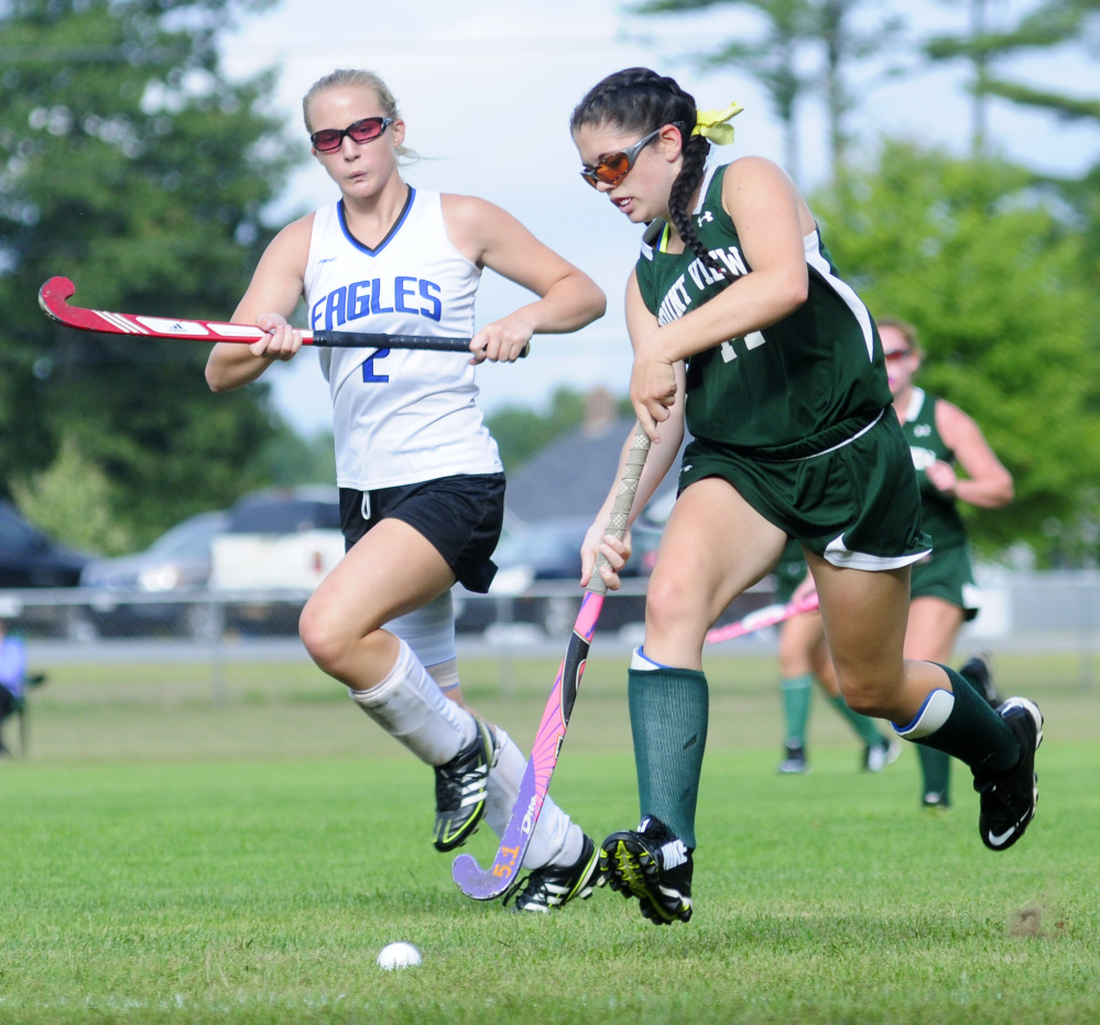 Erskine's Aly Kennedy, left, chases down Mount View junior Michelle Bilodeau during a game Thursday in South China.