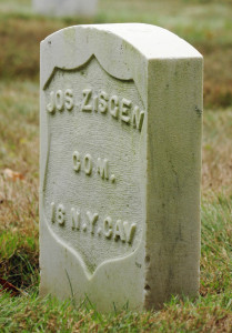 This Aug. 17 photo shows the grave marker for Joseph Zisgen at the Togus National Cemetery. He was part of the Army unit that caught John Wilkes Booth after he assassinated President Abraham Lincoln and is one of the notable people buried at Togus.