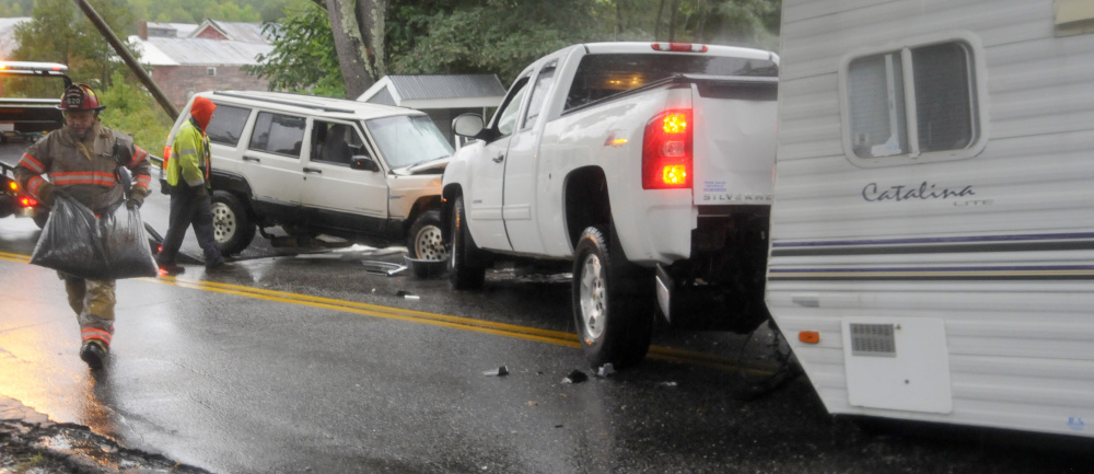 Four people were injured on Sunday after two vehicles collided near the Litchfield Fair Grounds.