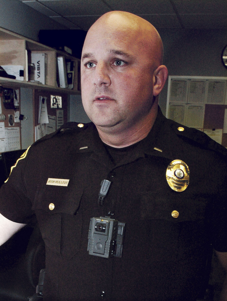 Winslow Police Lt. Josh Veilleux wears a department body camera that officers now use for evidence gathering at all police calls.