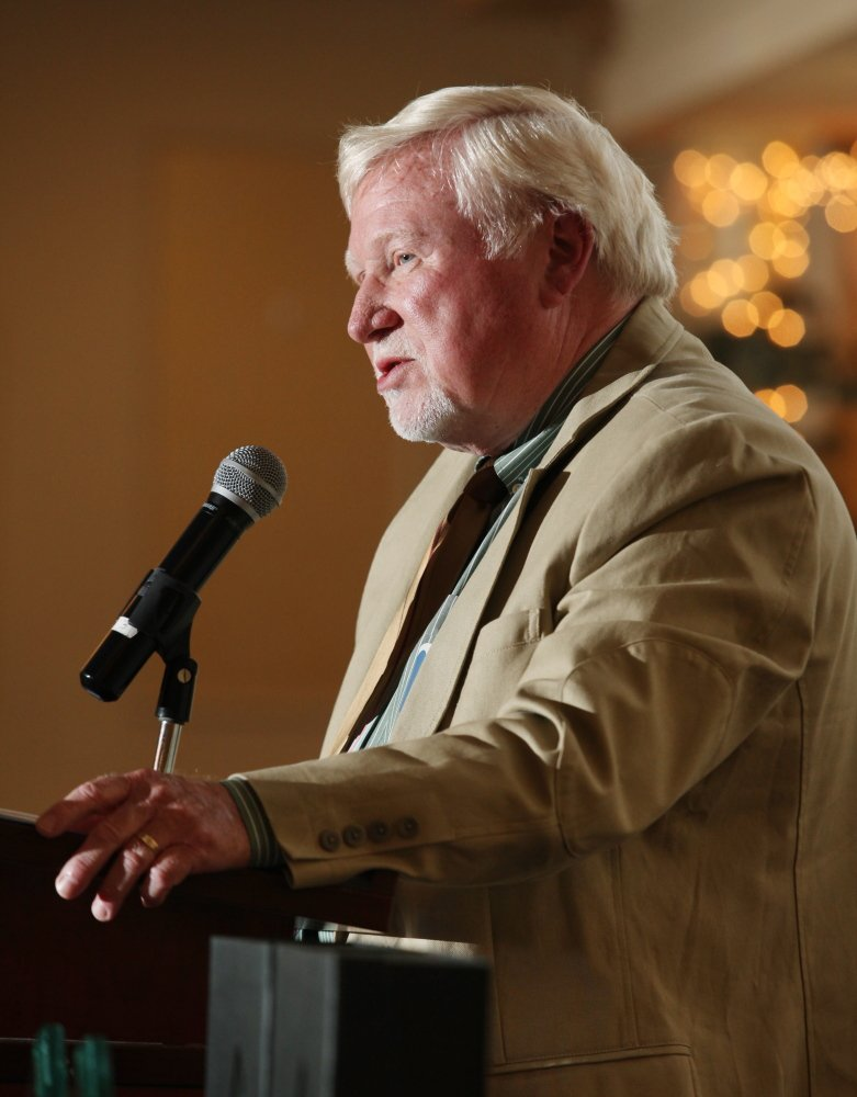 Former Portland Press Herald sports writer Steve Solloway, who will be inducted into the Maine Press Association Hall of Fame next month, speaks at the 27th Annual All-Sports Awards in Portland in this 2014 file photo.